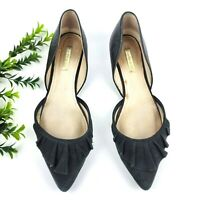 Louise et Cie Ruffle D'Orsay Flats Women's 8.5M Black Suede Point Toe Shoes