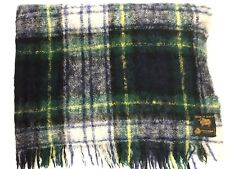 Scottish Wool Tartan Blanket Blue Green Plaid Throw 70x48 Soft Fuzzy Mohair?