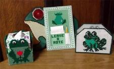 Needlepoint Frog Assortment Bill Note Box, Tissue, Note Taker, & Reflector Frog