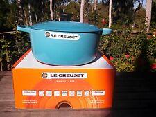 Le Creuset Signature Round French(Dutch) Oven-7.25 Qt.- Caribbean Teal Blue- NIB