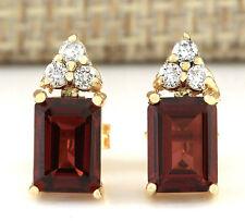 2.66CTW NATURAL GARNET AND DIAMOND EARRINGS 14K SOLID YELLOW GOLD