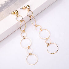 European Fashion Popular Round Pendant Long Chain Gold Silver Charm Earrings New