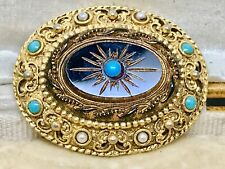 Ornate Vintage SPHINX Faux Turquoise Brooch.