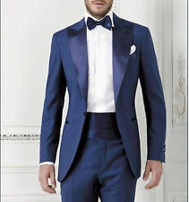 Mens Blue Groomsmen Tuxedo Man Slim Suit Formal Wedding Suit (Jacket+Pants) UK