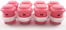 8 x 28mm Round Convex Curved Arcade Push Buttons & Microswitches (Pink) - MAME