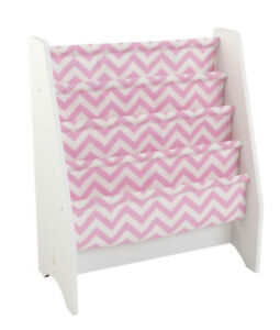Kidkraft 14233 Kids White Sling Canvas Bookcase Book Shelf w/ Pink Chevron NEW