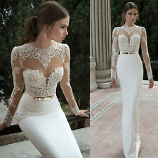 White Wedding Dresses Mermaid Lace Backless Sheath Bridal Dress 2017 Custom