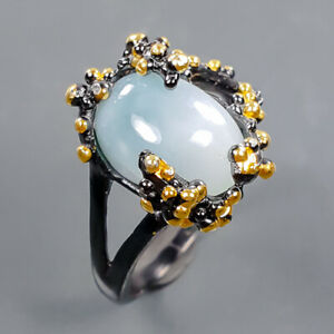 Unique Art Design Larimar Ring Silver 925 Sterling  Size 7 /R178558