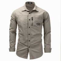 Mens Shirts Military Tactical Army Cargo Long Sleeve Slim Fit Casual Work Shirt