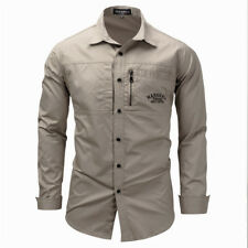 Mens Military Shirts Army Cargo Tactical Casual Long Sleeve Slim Fit Work Shirt