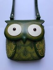 HANDMADE EMBOSSED GENUINE LEATHER OWL PURSE