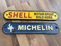 Cast Iron SHELL Motor Spirit or Michelin Tyres Sign. Man Cave Car Garage Bar