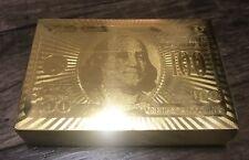 24K GOLD FOIL PLATED POKER PLAYING CARDS $100 BENJAMIN Franklin New Sealed