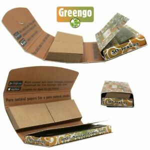 Greengo King Size Slim Hand Rolling Papers WITH ROACH TIPS Unbleached Organic
