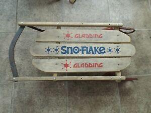 Vintage Gladding Sno-Flake Snowflake Child Toddler Push Pull Sled Wood Metal
