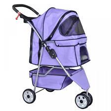 New Purple Pet Stroller Cat Dog Cage 3 Wheels Stroller Travel Folding Carrier ++