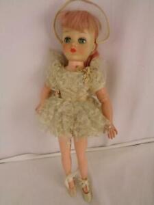 "Vintage 1950's Horsman Cindy Ballerina 17"" Doll - Pink Hair -Original Clothes"