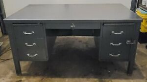 Vintage General Fireproofing Metal Tanker Desk | Original Grey | Full Size
