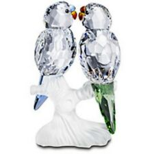 "SWAROVSKI SILVER CRYSTAL ""BUDGIES FEATHERED BEAUTIES MINT IN BOX 680627"