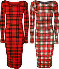 Vestiti da donna stretch rossi manica lunghi