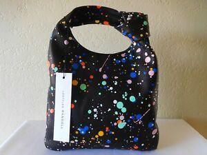 New Loeffler Randall Mini Knot Paint Splatter Print Hobo Bag