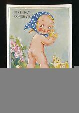 Greetings Birthday artist AGNES RICHARDSON ? Child Ducklings #4980B PPC
