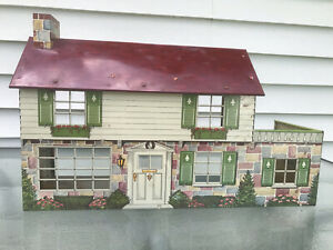 Vintage Large Metal Litho Marx MAR Two Story Dollhouse Mid Century Modern 1950s