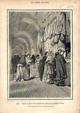 Saint-Pierre de Rome Vatican Présent du Pape Pie IX Galerie Cartes GRAVURE 1877