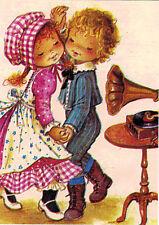 GRAMOPHONE PLAYS, GIRL AND BOY DANCE Modern Russian postcard