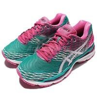 Asics Gel-Nimbus 18 Green Pink Silver Womens Running Shoes Sneakers T650N-5393