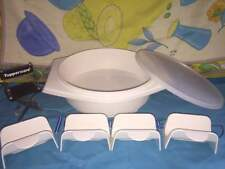 TUPPERWARE TAN TORTILLA KEEPER BOWL # 785 & 4 TACO HOLDER GADGETS # 2201 SET LOT