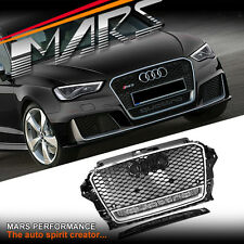 CHROM Black RS3 QUATTRO Style Bumper Bar Grille Grill for AUDI A3 S3 8V 13-16