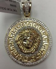 10K REAL YELLOW GOLD HEAVY 1-1/2CT Diamond Medusa Head Versace PENDANT 19.3gr