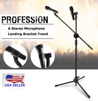 USA 360-degree Rotating Microphone Stand Dual Mic Clip Boom Arm Foldable Tripod
