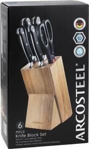 Brand New Arcosteel 6 Piece Knife Block Set | Quality 1.4116 German Steel