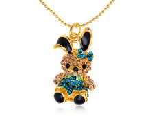 Golden Crystal Rhinestone Drawn Hare Baby Bunny Rabbit Pendant Necklace