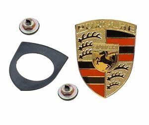 Logo Crest Badge Hood Emblem Kit Set +Seal+Nuts for Porsche 911 912 914 924 944