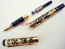 Jinhao 5000 Golden Dragon Medium Nib Fountain Pen + 5 Black Ink Cartridges,Black