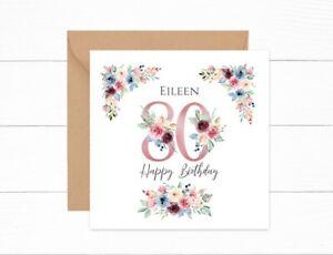 Personalised 80th Birthday Card Pink Floral Nan Auntie Mum Grandma Friend