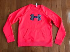 Under Armour Womens Neon Coral Gray Semi Fitted Crew Neck Pullover Size Large