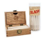 RAW Organic King Size Pre-Rolled Cones Bundle (50 Pack with Storage Box)
