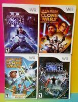 Star Wars Force 1 + 2 + Clone Wars + Republic - Nintendo Wii / Wii U 4 Game Lot