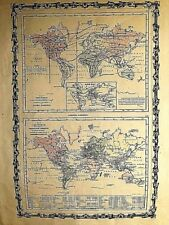MAP OF TEH WORLD,ANIMAL KINGDOM AND PRODUCTIVE INDUSTRY, Johnson,Nueva York,1864