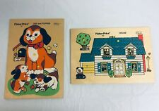 "1970s Vintage Fisher Price Wooden Pegged ""Peek"" Puzzles-SET/2-House/Dog&Puppies"