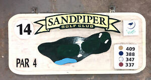 Vintage Carved Wood 14th  Hole Par 4 Golf Course Sign Sandpiper collectible