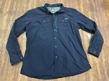 Eddie Bauer Men's Blue Nylon Vented Long Sleeve Outdoor Shirt - XL