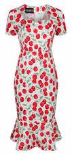 Ro Rox Cherry Vintage Retro 50s Rockabilly Party Pencil Trumpet Dress Size 16