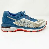 Asics Womens GT 2000 6 T855N White Blue Running Shoes Lace Up Low Top Size 7