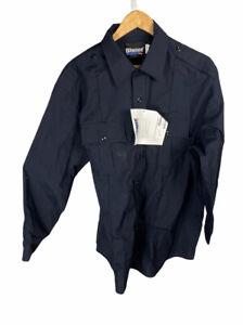 New Blauer Class Act 8431 Long Sleeve Navy Button Shirt 17.5 Free US Shipping