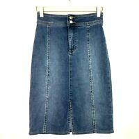 we the Free people maddie slim pencil skirt blue denim jean size 24 0 hemmed